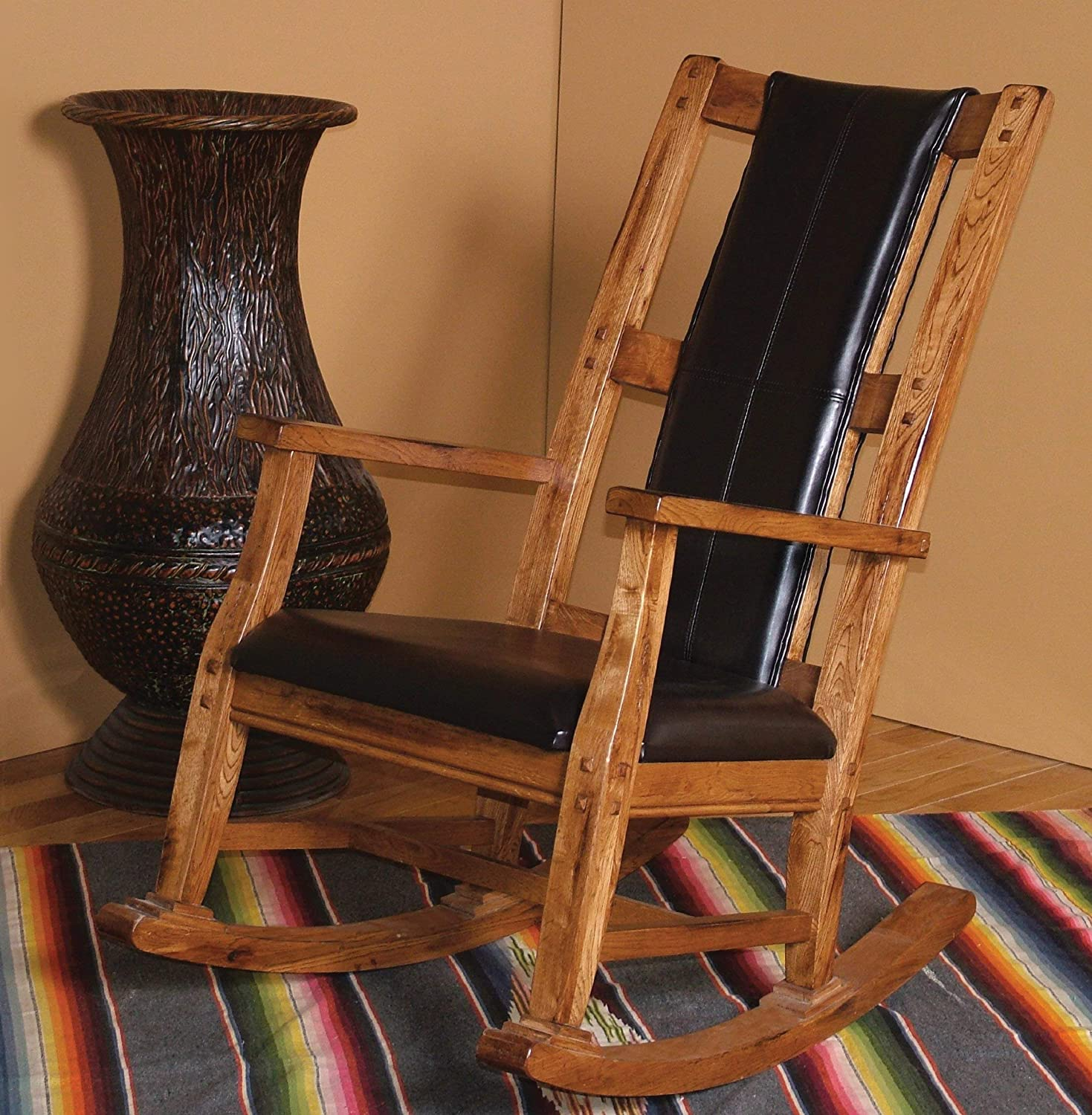 Sunny Designs 1935RO Sedona Rocker with Black Seat and Back, Rustic Oak Finish