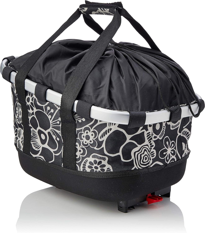 Color Negro tama/ño: 33 x 27 x 42 cm dise/ño de Flores Cesta de Bicicleta para Adultos KLICKfix Unisex