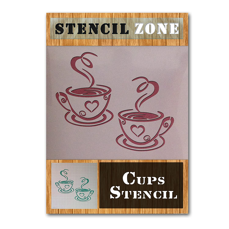 Tazze di caffè tè casa cucina Mylar painting Wall Art stencil, plastica, A1 Size Stencil - Xlarge STENCIL ZONE