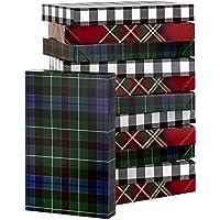 Hallmark Plaid Shirt Box Bundle (12 Boxes, 3 Designs) Blue, Green, Red Plaid, Black Buffalo Check for Christmas…