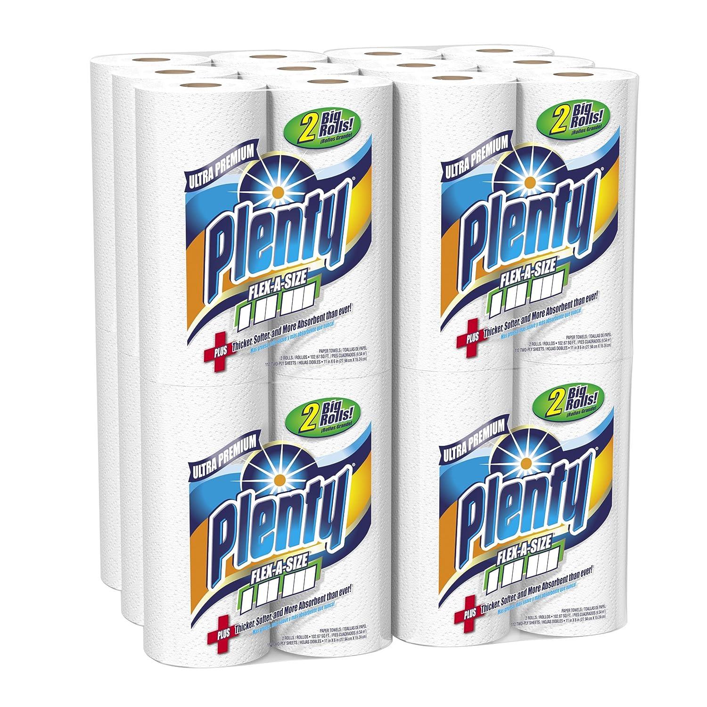 Plenty Ultra Premium flex-a-size toallas de papel, 24 grandes rollos, 112 hojas por rollo, color blanco: Amazon.es: Hogar