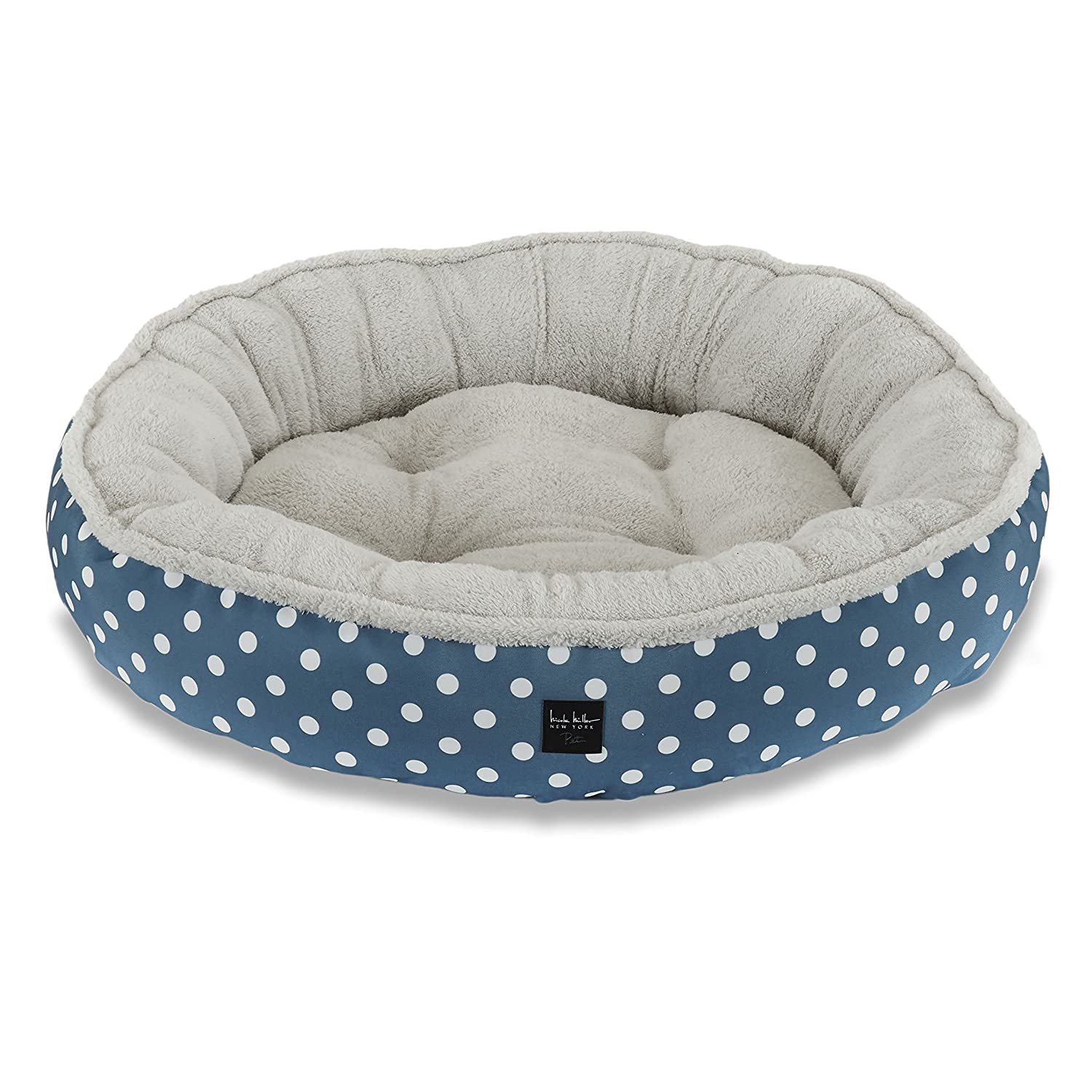 bluee Polkadots 30 Inch Round bluee Polkadots 30 Inch Round Home Dynamix HD119-309 Nicole Miller Comfy Pooch Pet Bed, 30 Inch Round, bluee Polkadots