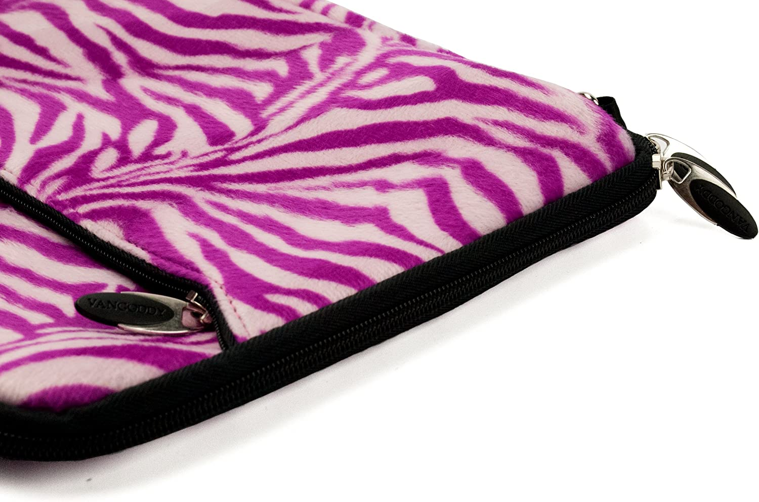 Magenta Zebra Animal Fur Design Polyester Cover Sleeve for Asus ASUSPRO B53A 15.6 inch Laptop and Cable Organizer and 3 Port USB HUB with Micro USB