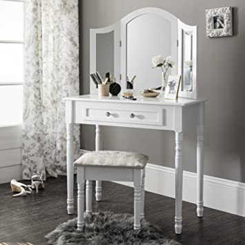 Sienna | Lot coiffeuse, miroir et tabouret | style shabby chic ...