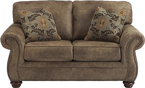 Flash Furniture Signature Design by Ashley Larkinhurst Loveseat in Earth Faux Leather
