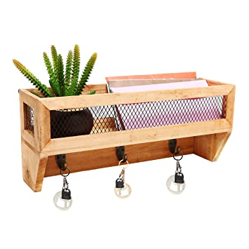 MyGift Country rustikal Holz & Metall Wand montiert Mail Organizer ...