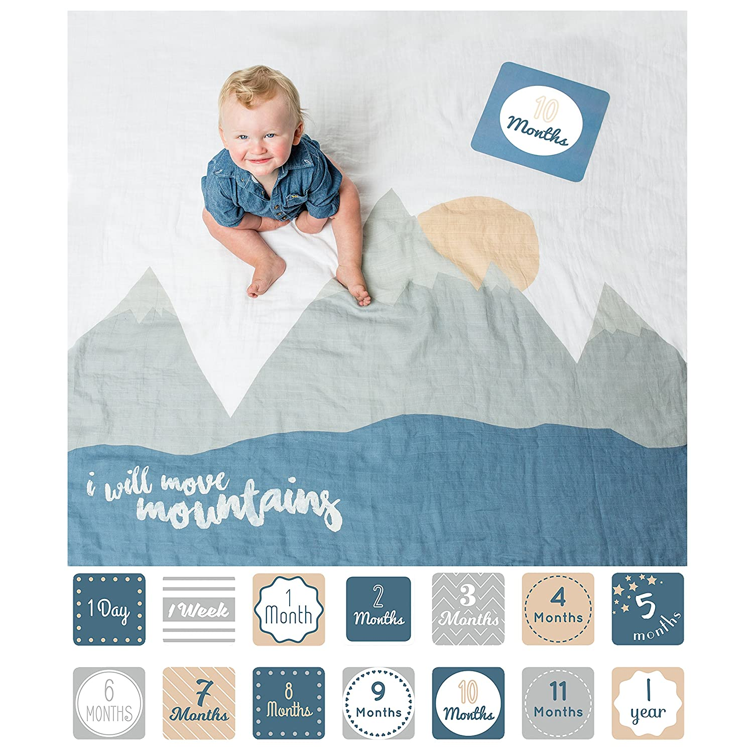 d09f2a668ce Amazon.com  lulujo Baby First Year Milestone Blanket and Cards Set ...