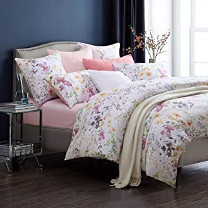Brandream Home Collections Exquisite Floral Print Luxury Duvet Quilt Cover Cosy & Durable Cotton 3pc 800-Thread-Count Bedding Set with Button Closure (Queen)