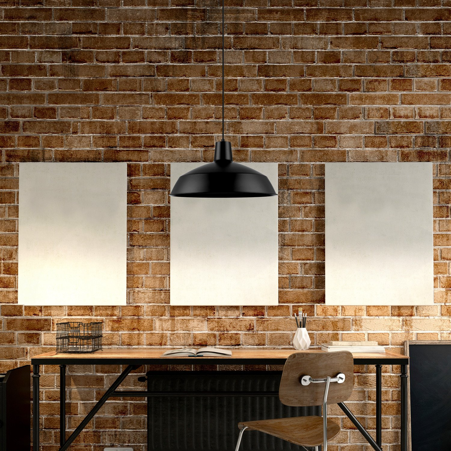 Globe Electric Barnyard 1-Light 16'' Industrial Warehouse Pendant, Matte Black Finish, 65155 by Globe Electric (Image #8)