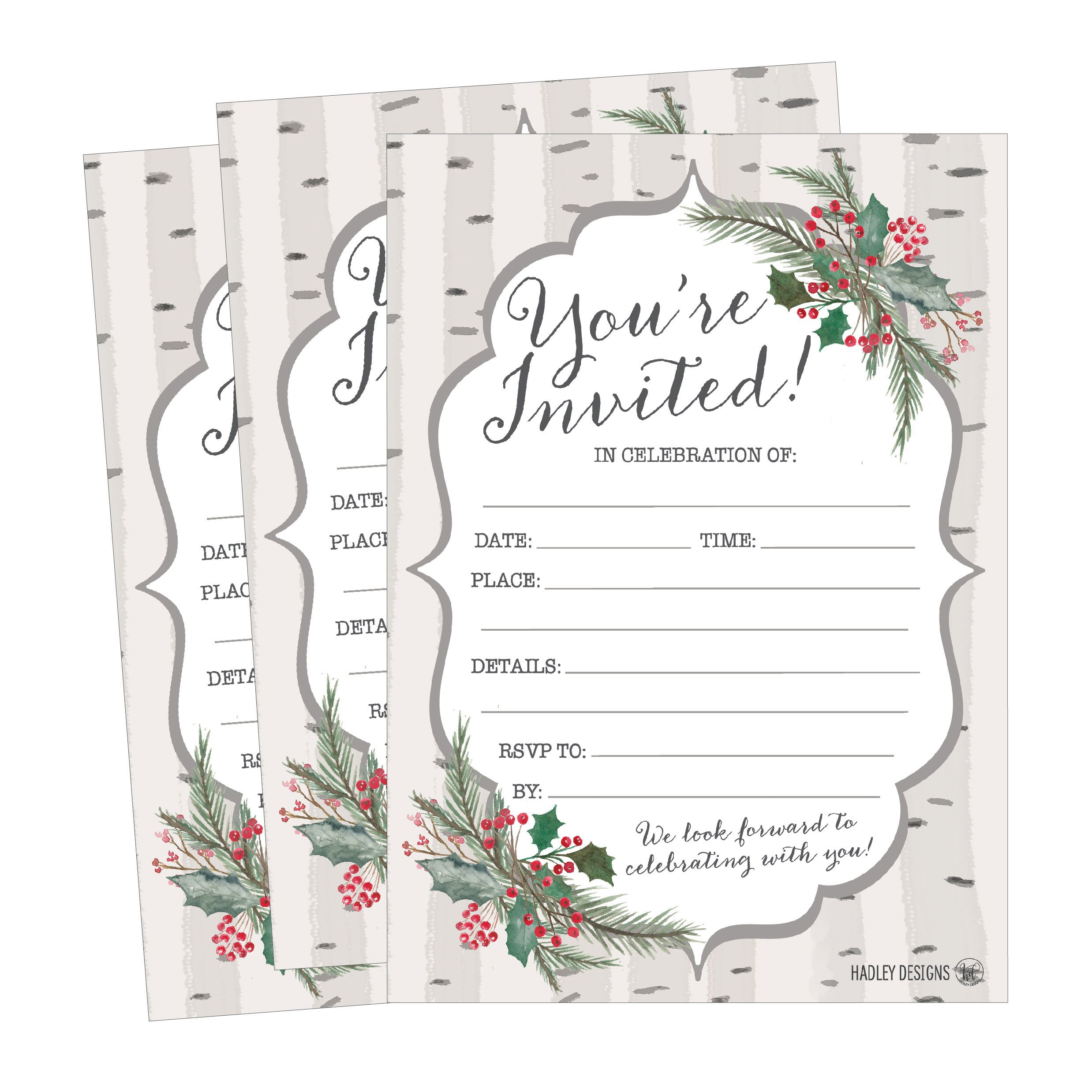 Amazon.com: 25 Woodland Party Invitations, Winter Bridal or Baby ...