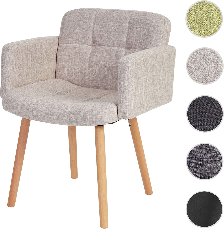 Mendler Chaise de séjour Orlando II, Style rétro ~ Tissu, crèmeGris