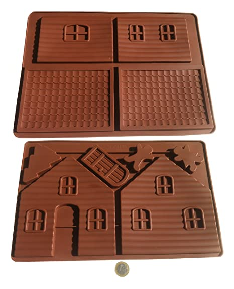 Casa de chocolate Diseño de casa de brujas bebé molde de silicona molde de silcicona para ...