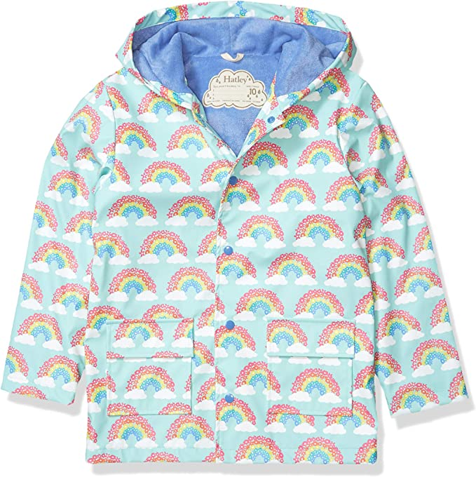 Hatley Pink Colour Changing Lovely Hearts Waterproof Raincoat