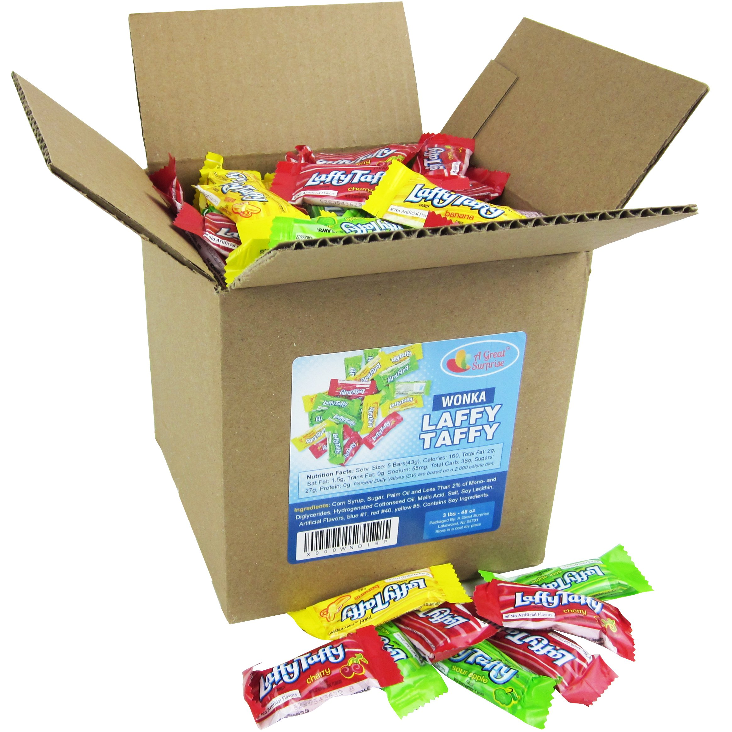 Laffy Taffy Assorted Fruit Flavors, Cherry Green Apple Banana Candy Bulk Party Box 6x6x6 Family Size by A Great Surprise (Image #3)