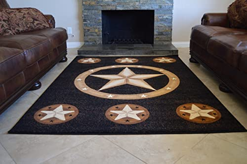 Rugs 4 Less Collection Texas Lone Star State Novelty Area Rug R4L 78 Color and Size Black