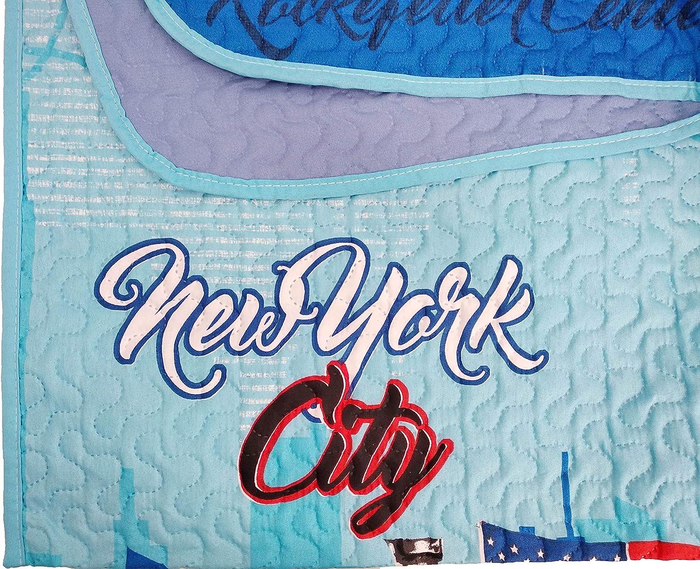 Gris ForenTex Colchas Newyork Cama 90 Reversible Termo Estampadas Verano Primavera con Funda Cojines 2