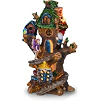 TERESA'S COLLECTIONS 12.8 Inch Spiral Stair Fairy House Garden Statues with Solar Powered Tree House Garden Lights…