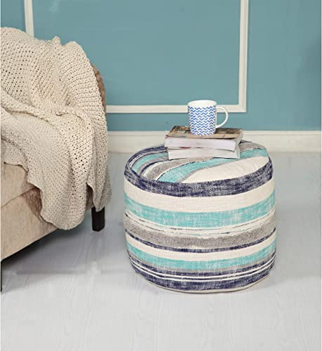 LR Home Coastal Stripe Pouf