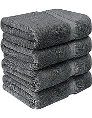 Utopia Towels Bath Towels, 4 Pack, 69 x 137 cm, Grey