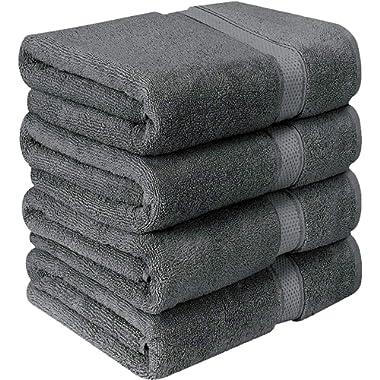 Utopia Towels Luxurious Bath Towels, 4 Pack, Grey