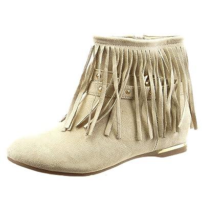 Sopily - Zapatillas de Moda Botines Tobillo mujer fleco tachonado metálico Talón Tacón ancho 1.5 CM - Beige FRF-12-F155 T 38: Amazon.es: Zapatos y ...