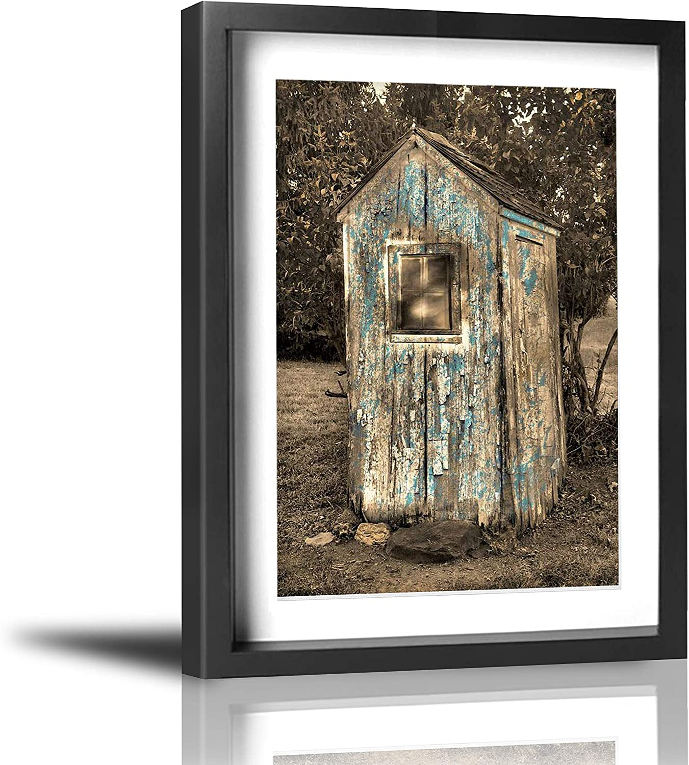"Coolertaste Rustic Vintage Outhouse Brown Blue Bathroom Wall Decor Vintage Rustic Canvas Wall Art Prints Framed Pictures Artwork Ready to Hang 12"" x 16"""