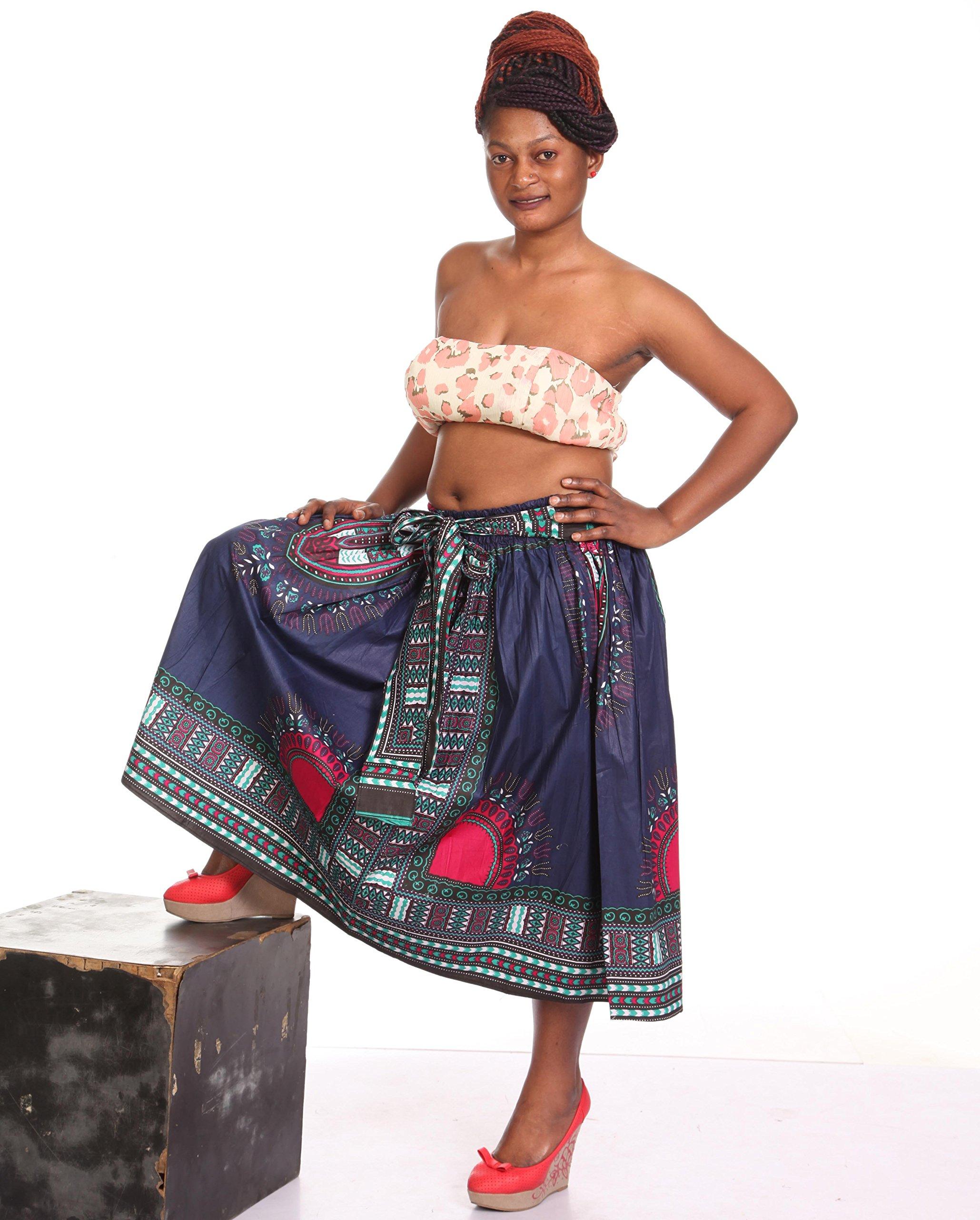 African Planet Womens Dashiki Wax Skirt Ghana Inspired Elasticized Knee Length Tie (Navy & Red)