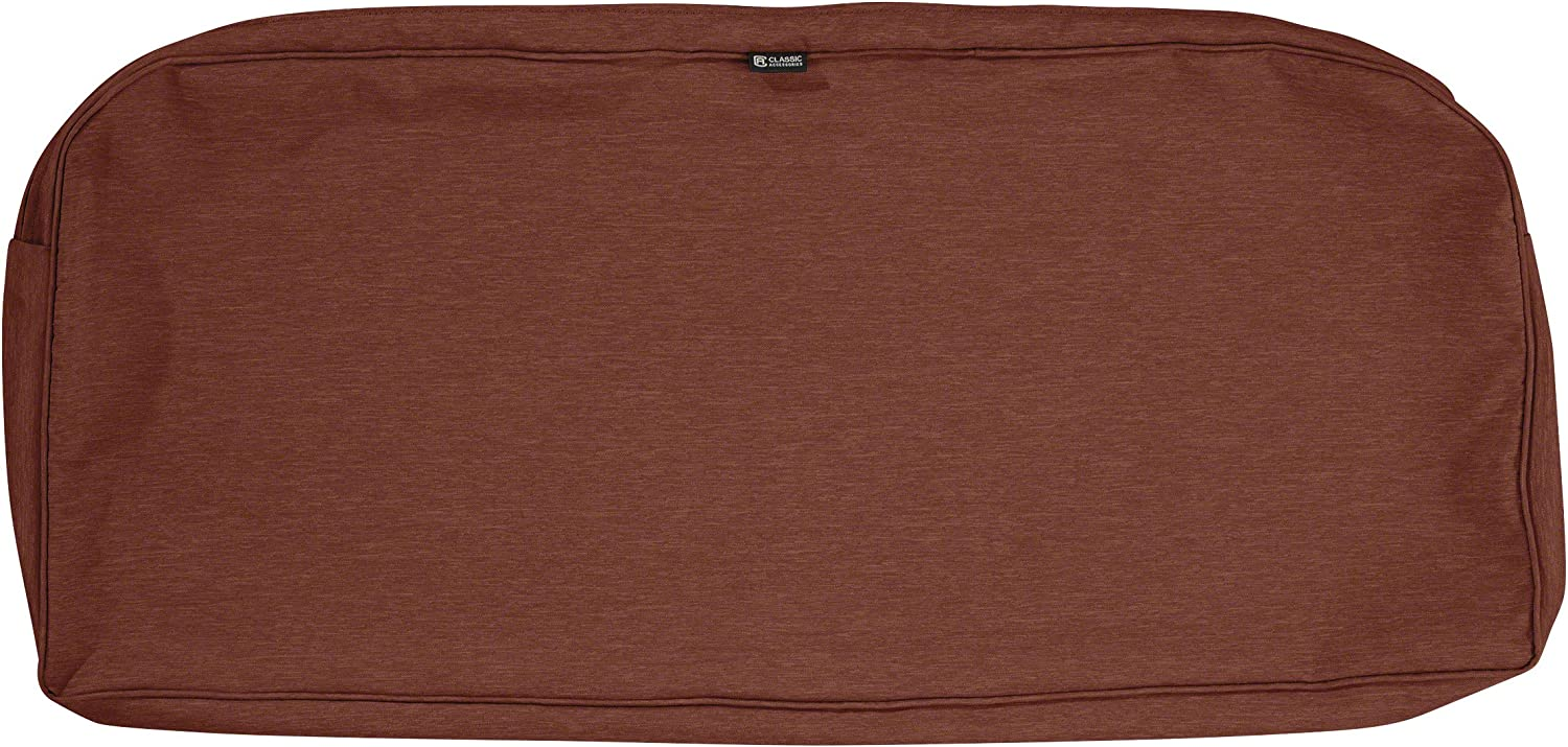 Classic Accessories Montlake Water-Resistant 41 x 18 x 3 Inch Patio Bench/Settee Cushion Slip Cover, Heather Henna Red