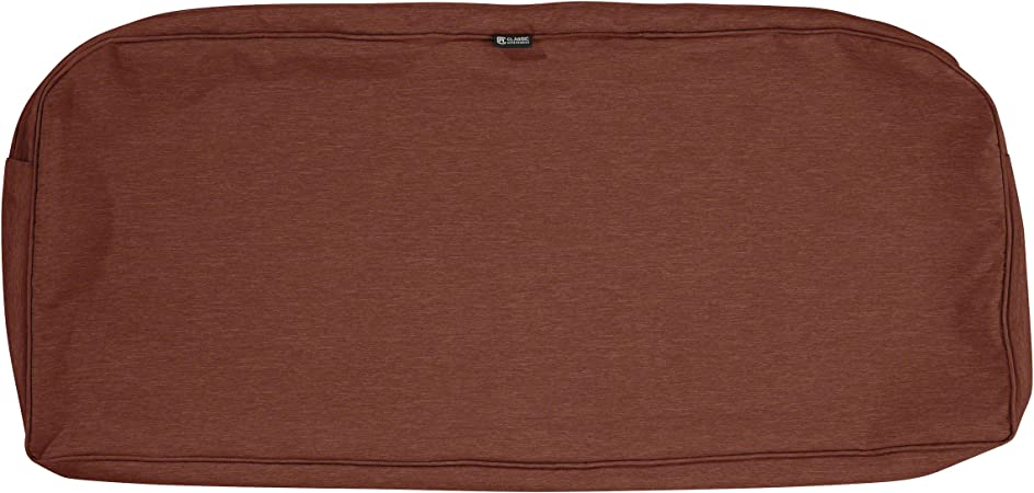 Classic Accessories Montlake Water-Resistant 41 x 18 x 3 Inch Outdoor Bench/Settee Cushion Slip Cover, Patio Furniture Swing Cushion Cover, Heather Henna Red