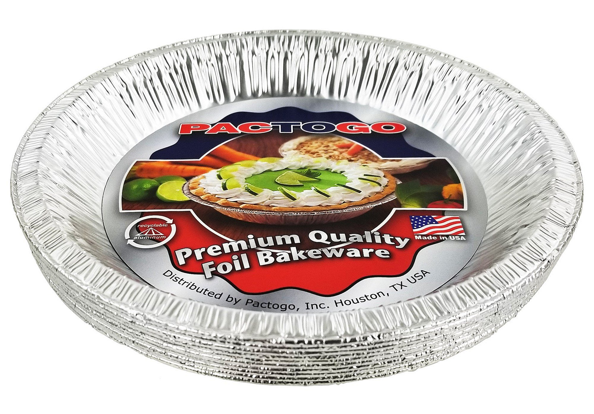 Pactogo 10'' (Actual Top-Out 9-5/8 Inches - Top-In 8-3/4 Inches) Aluminum Foil Pie Pan - Disposable Baking Tin Plates (Pack of 12) by PACTOGO (Image #3)
