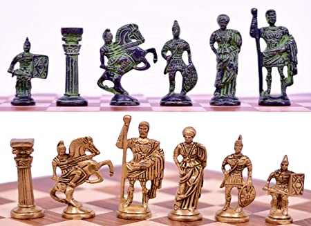 Metal Brass Roman Chess Figures, Antique Showpiece Decorative Gift Item (Yellow Antique & Black Green Antique)