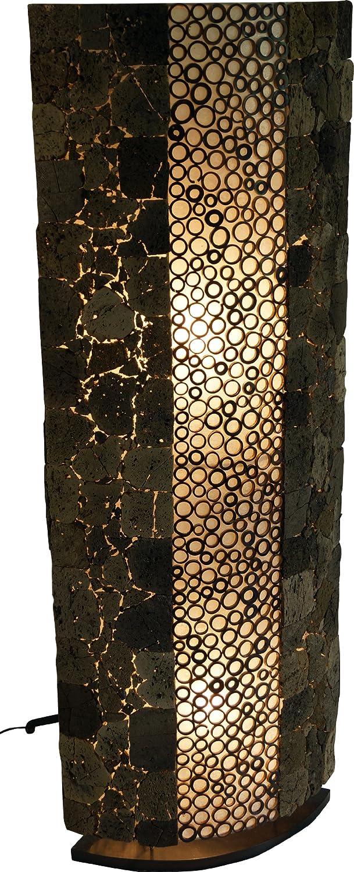 Guru-Shop Stehlampe Stehleuchte Lava Bamboo 100 - in Bali Handgemacht aus Naturmaterial, Lavastein, Bambus, 100x40x15 cm, Dekolampe Stimmungsleuchte