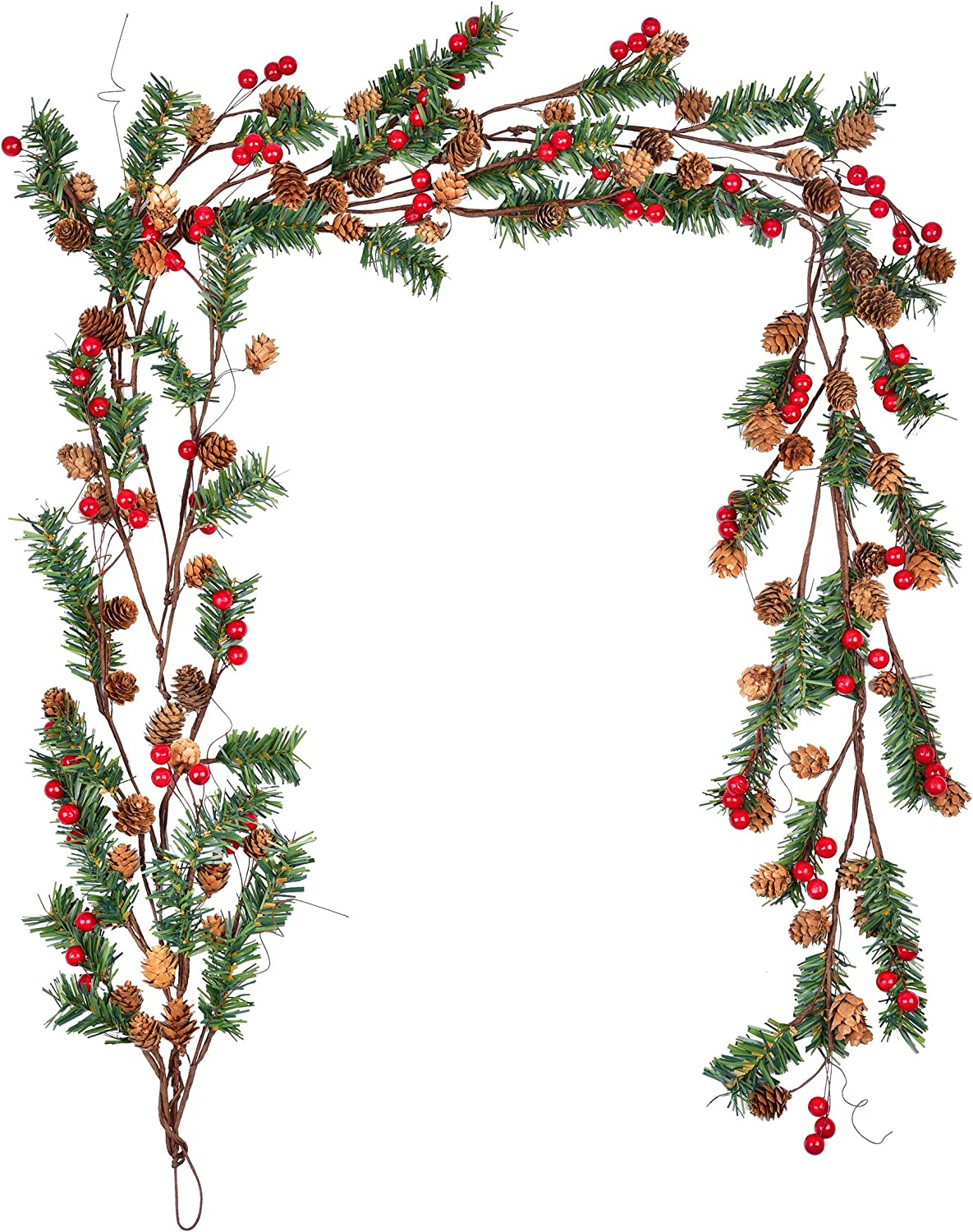 4Ft Christmas Garland with Pine Cone Red Berry Artificail Garland Indoor Outdoor for Winter Holiday New Year Decor