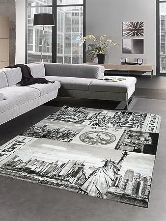 Carpetia Designer Teppich New York Motiv Grau Schwarz Grosse 160x230