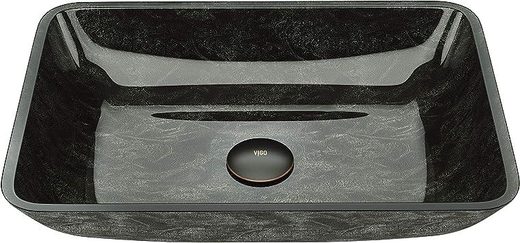 Vigo Vg07084 18 125 L 13 0 W 4 H Onyx Handmade Countertop Glass Rectangle Vessel Bathroom Sink In Gray Finish Amazon Com