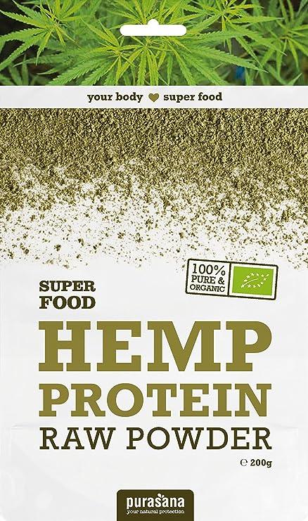 Purasana - Proteínas de cáñamo orgánico, crudo sin aditivos, ideal para vegetarianos, 200g
