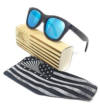 66f437fb9da Amazon.com  Polarized   Floating Bamboo Wood Wayfarer Sunglasses ...