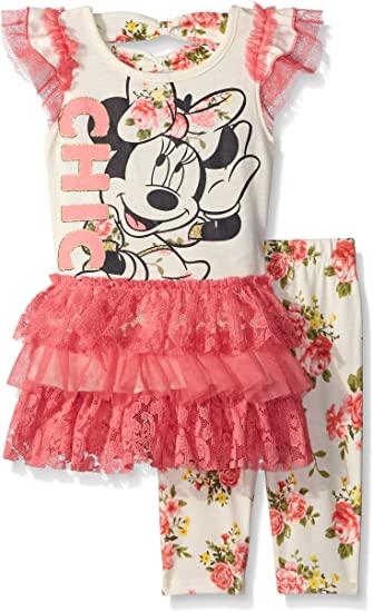 Minnie Mouse Girls White /& Red Two-Piece Short Set Size 4 5 6 6X