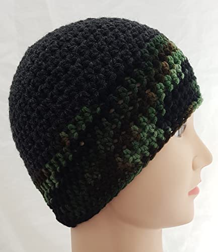 Amazon.com  Men s Crochet Charcoal Grey Camo Hat  Handmade 33a316c8e85