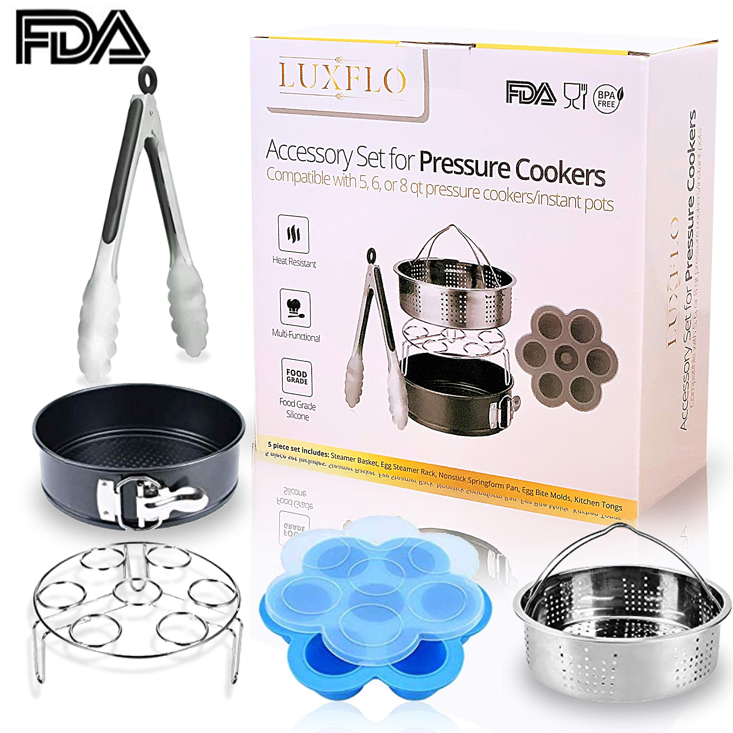 LuxFlo Instant Pot Pressure Cooker Accessories Set 5 pc, Compatible with 5, 6, 8 qt - Steamer Basket, Egg Rack, Springform Pan, Egg Bite Mold, Tongs by LuxFlo