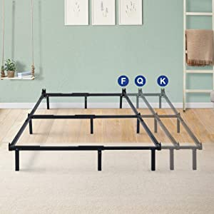 Olee Sleep 7 Inch Compact Steel Box Spring and Mattress Set Bed Frame, Full/Queen/King, Black