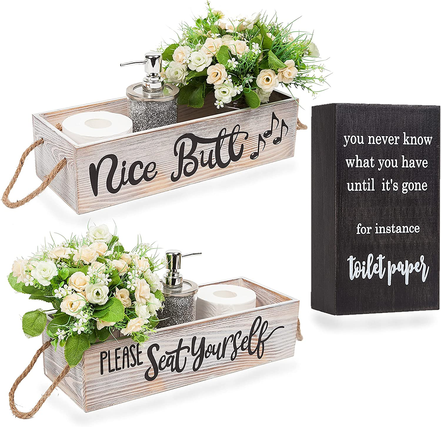 iDelightz Nice Butt Bathroom Decor Box (1 Box) and Cute Box Sign - 2 Sides of Funny Bathroom Signs - Rustic Home Decor / Toilet Paper Storage for Farmhouse Bathroom Decorations (White Washed)