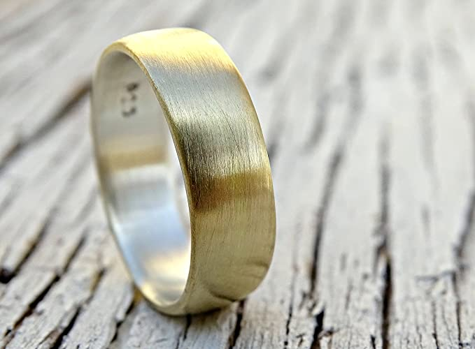 Amazon.com: brass wedding ring, domed brass ring silver, mens ring ...