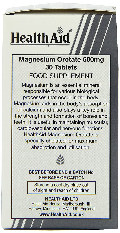 HealthAid Magnesium Orotate 500mg - 30 Tablets: Amazon.es: Salud y cuidado personal