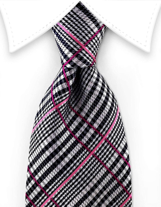 Pink /& Silver Plaid Tie Multicolored Gentleman Joe Black