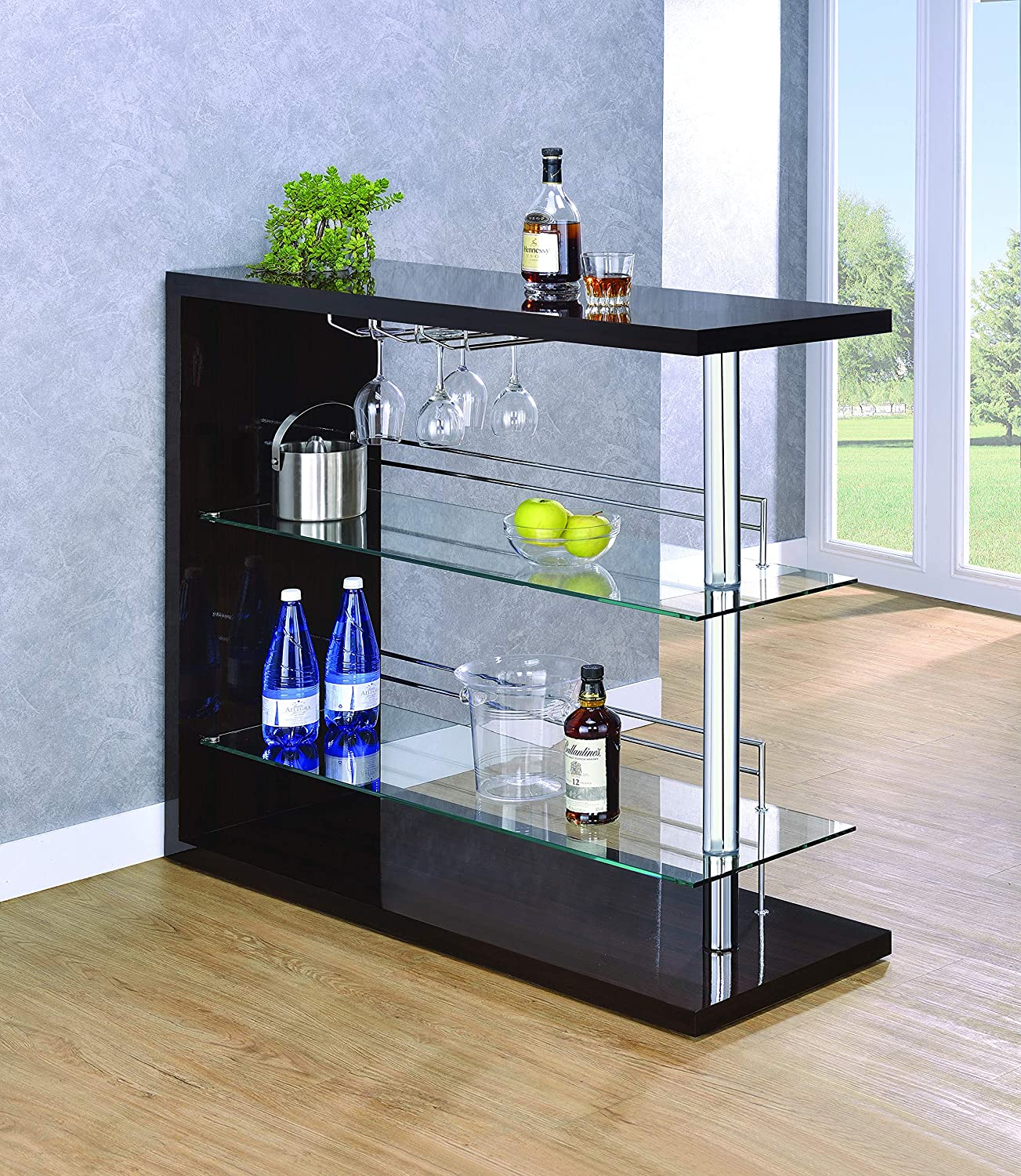 Rectangular 2-Shelf Bar Unit with Wine Holder Glossy Cappuccino, Chrome and Clear