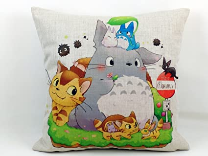Thick Cotton Linen Totoro Cartoon Decorative Pillow Case Sofa Throw Cushion Cover 18