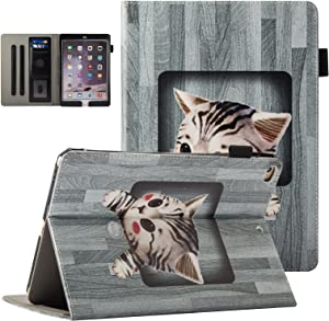 "UUcovers Case for Apple iPad 9.7"" 2018 2017 (iPad 6th/5th Gen),iPad Air/Air 2 Cover, Multi-Angle Viewing Stand Folio PU Leather Wallet Cover with Card Stylus Pencil Holder [Auto Sleep/Wake], Grey Cat"