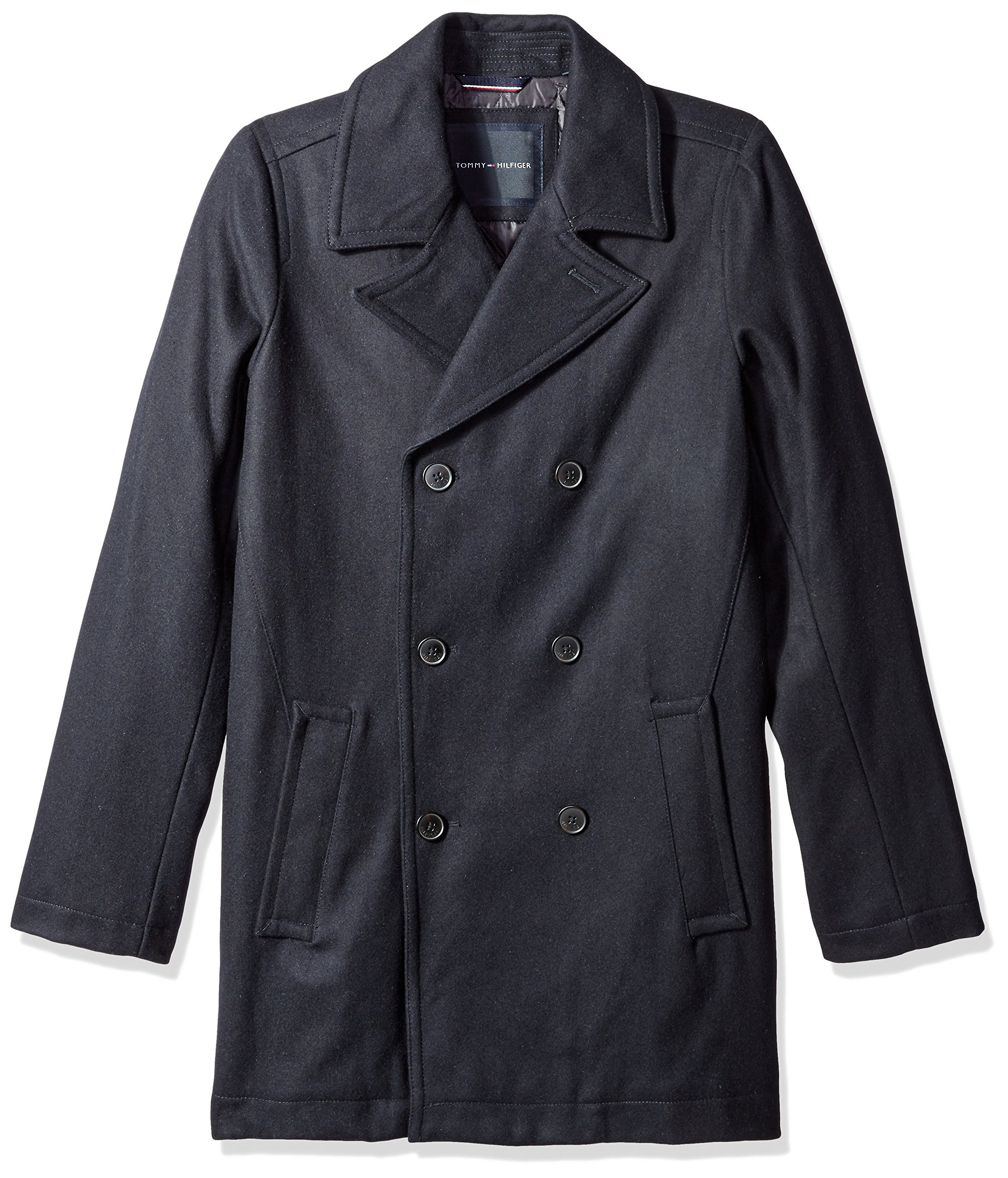 Tommy Hilfiger Men's Big-Tall Classic Peacoat, Black, X-Large/Tall by Tommy Hilfiger