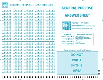 picture relating to Scantron Printable known as PDP-4521 (100/pkg) 4521 Suitable verify sheet